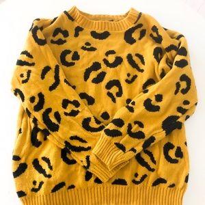 Boohoo   Mustard Cheetah Leopard Print Knit Top